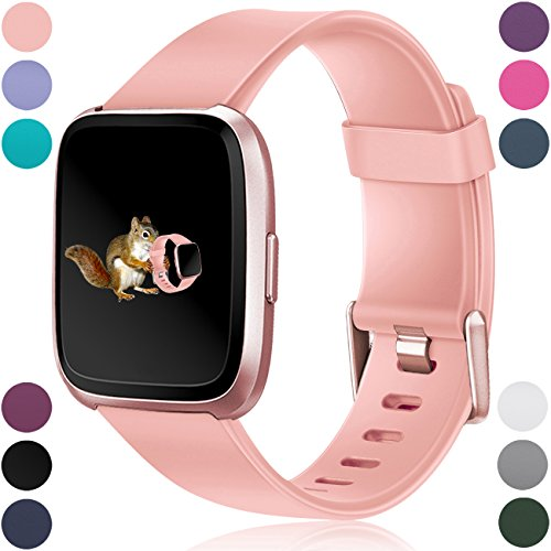 Dark Pink Classic Rose - Wepro For Fitbit Versa Bands Replacement for Women Men Small Peach, Sports Watch Band for Fitbit Versa Smartwatch