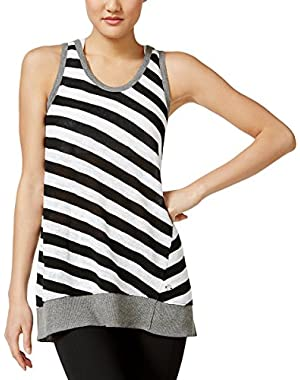 Calvin Klein Performance Women's Striped Knit Fashion Tank Top, Black (Small)