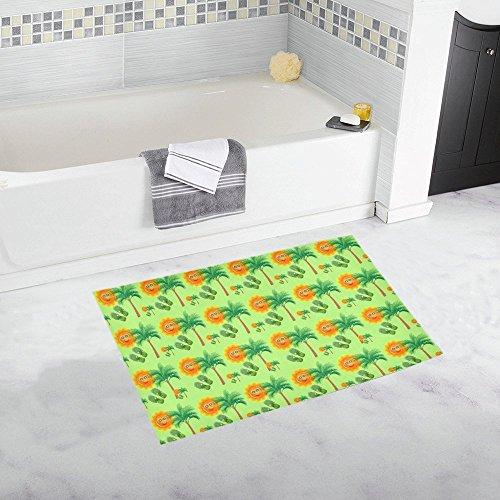 Holiday Tropical Smiley Face Palm Tree Palm Tree Custom Non-slip Bath Mat Rug Bath Doormat Floor Rug For Bathroom 20 X 32 Inch -