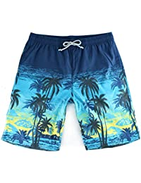 Danial Mens Quick Dry Tropical Floral Coconut Palm Boardshort Swim Trunk Beach Shorts