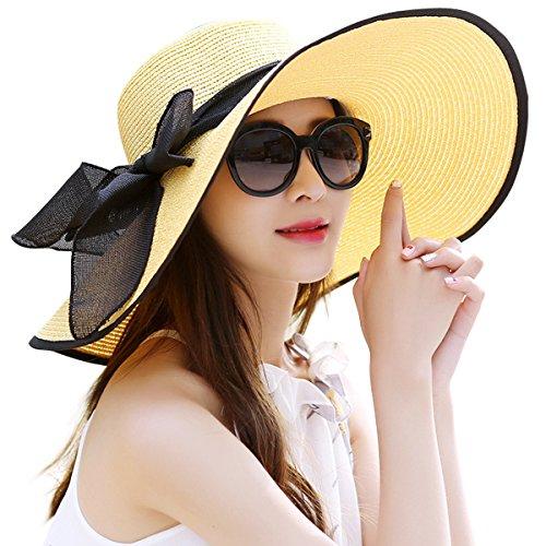 Lanzom Womens Big Bowknot Straw Hat Foldable Roll up Sun Hat Beach Cap UPF 50+ (Yellow)