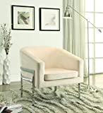 Coaster Home Furnishings Upholstered Accent Chair Cream and Chrome For Sale