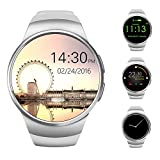 AWOW Bluetooth Smart Watch 1.3 inches IPS Round Touch Screen Water Resistant Smartwatch Phone with SIM Card Slot Sleep Monitor Heart Rate Monitor and Pedometer for IOS and Android Device White