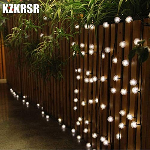 BATOP 2m/3m/4m/5m/10m/20m Battery Furry Snow Ball Edelweiss led Christmas String Light for Garden Home Wedding Party Garland Decor