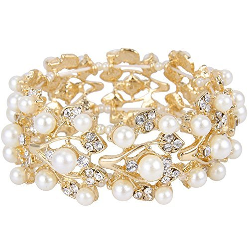 (Bella-Vouge Wedding Jewelry Crystal Rhinestone Pearl Leaf Stretch Bracelet Gold-NO.157)