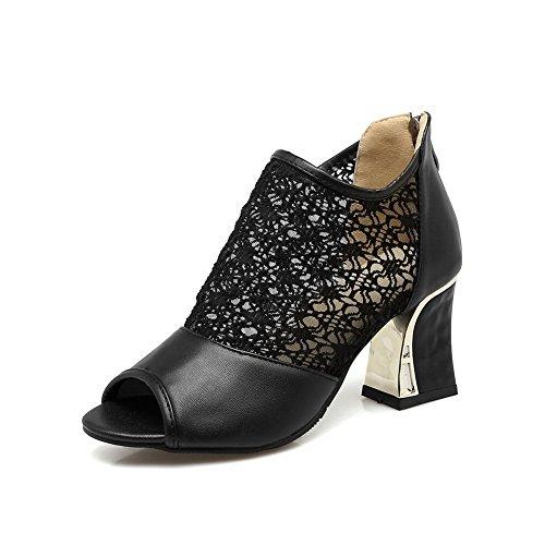 BalaMasa Womens Zipper Chunky Heels Lace Urethane Sandals Black gDdBaB