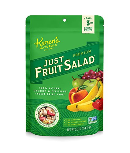 (Karen's Naturals Just Fruit Salad, 5.5 Ounce Pouch (Packaging May Vary) All Natural Freeze-Dried Fruits & Vegetables, No Additives or Preservatives, Non-GMO)