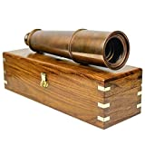 Nagina International Deluxe Nautical Pirate Boat Brass Spyglass with Functional Optical Zooms & Genuine Rosewood Storing Case Anchor Emblem Inlaid 32 Inches, Antique Brass (W/Box)
