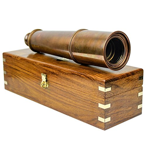 Deluxe Nautical Pirate Boat Brass Spyglass With Functional Optical Zooms & Genuine Rosewood Storing Case Anchor Emblem Inlaid | Nagina International (32 Inches, Antique Brass (W/ - Optical Australia
