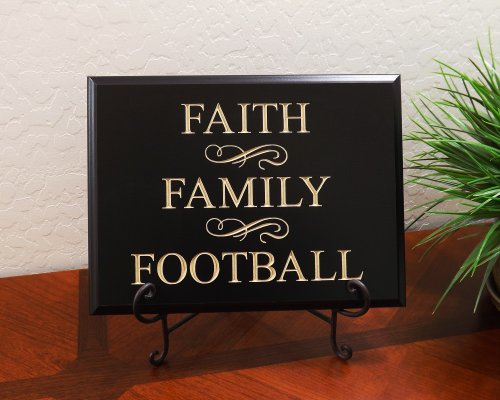 FAITH FAMILY FOOTBALL Decorative Carved Wood Sign Quote, Black