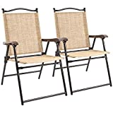 Flamaker Folding Sling Chairs Sets, 2-Pack, Portable Patio Chairs Outdoor Lounge Chairs Foldable Outside Chairs for Pool, Yard, Beach and Camping (01 Yellow)