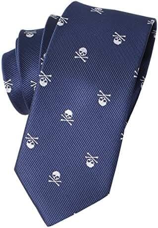 Mantieqingway Skull & Crossbones Necktie Polyester Jacquard Skinny Tie