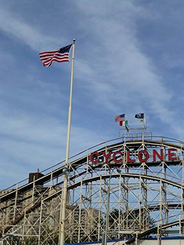 Home Comforts Peel-n-Stick Poster of Coney Island America Brighton Beach Cyclone Vivid Imagery Poster 24 x 16 Adhesive Sticker Poster Print