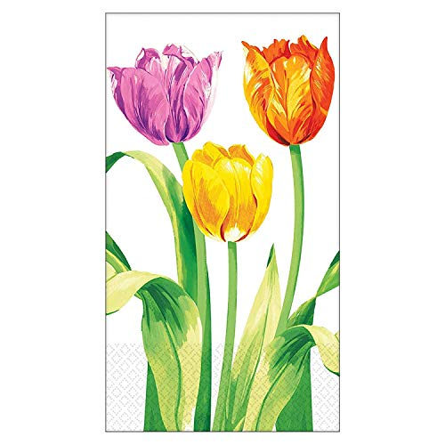 Amscan 531196 Bright Tulips Guest Towel, Standard, Multicolor
