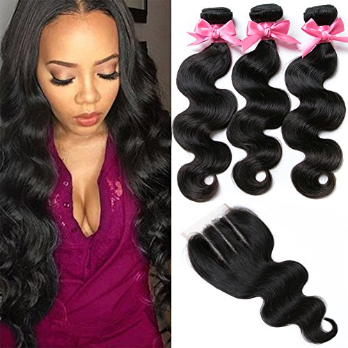 Free Queen 8A Brazilian Virgin Hair 3 Bundles with Closure Body Wave 100% Unprocessed Human Hair Weave With Lace Closure … (18'' 20'' 22''+16''closure, Three Part) by Free Queen