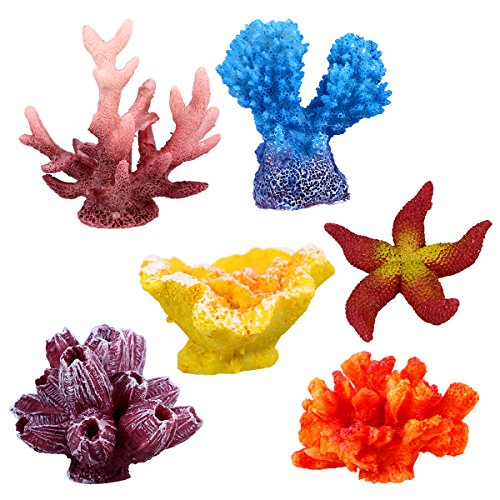 UEETEK 6 Pcs Multicolor Aquarium Decor Artificial Sea Star Fake Coral Hiding Ornament for Fish Tank Decoration