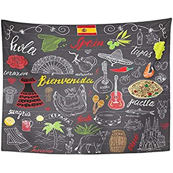 SSKBJTBDW Spain Doodles with Spanish Lettering Food Paella Shrimp Olive Grape Fan Wine Tapestry Soft Polyester Cotton Appropriate Size Nice Wall Hanging Decoration