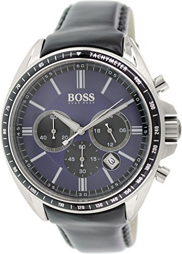 Hugo Boss Men's 1513077 Black Leather Analog Quartz Watch
