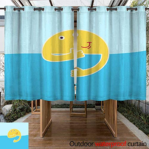 RenteriaDecor Outdoor Ultraviolet Protective Curtains Good Morning Rising Sun with Smile and Thumb up Behind River Shows Thumb up Sky River Smiling Sun and Little Ship or boa W84 x L72