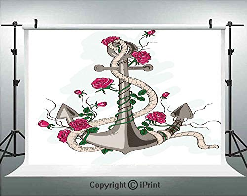 Anchor Photography Backdrops Sea Anchor Entwined with Flourishing Roses Romantic Summer Ocean Inspired Decorative,Birthday Party Background Customized Microfiber Photo Studio Props,5x3ft,Taupe Beige H