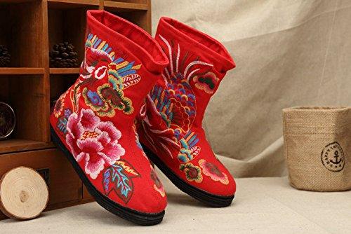 moda vento autunno vento Red inverno di amp;qq le stagioni nazionale comfort donne quattro cinese libero tempo Tradizionale scarpe ricamo 1Fxq7Ra