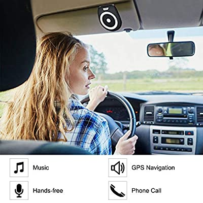 Aigital Bluetooth Hands Free Car Speaker Wireless in-Car Speakerphone Kits AUTO Power ON Music Player, Safe Driving for Handsfree Calling and GPS Navigation, with Free Car Charger: Automotive