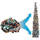 Joy-Leo 5 Foot Silver Multicolored Pop Up Collapsible Tinsel Pencil Indoor Christmas Tree with Shiny Sequins for Fireplace&Party&Office&Classroom Decor,Beach Artificial Xmas Trees for Home Decoration