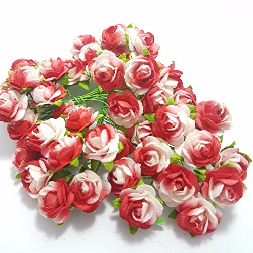 100 PCS 0.8 cm White Red MINI Rose Mulberry Paper Flower Wire Scrapbook Craft Wedding