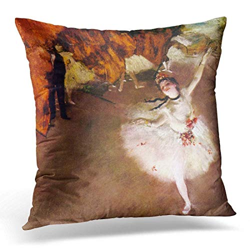 Cookisn Throw Pillow Covers, Throw Pillow Cover Impressionism Vintage Ballet Ballerinas Edgar Degas Impressionists Decorative Pillow Case Home Decor Square 18 X 18 inches Pillowcase (Degas Ballet Bag)