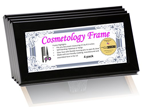 CreativePF- 8.5 by 3.5 inch Black License Frames for Cosmetology Professionals - State Board License Holder Displays Certificates, Tax License and more - Self Standing with Hanger (4- Pack) (License Display Frame compare prices)