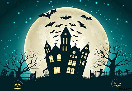 Kate 7X5ft (220cmX150cm) Halloween Background Scary Castle Bats Full Moon Night Backdrop Photography -