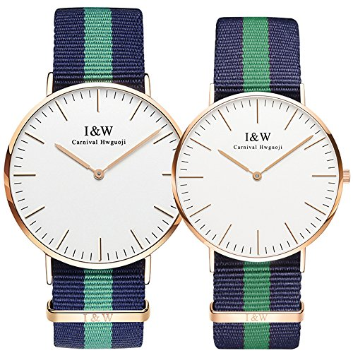 Couple Lover Analog Quartz Casual Simple Watch Rose Gold Steel Case Multi-color Canvas Bracelet Set of 2 (Band Color No.5) by Carnival