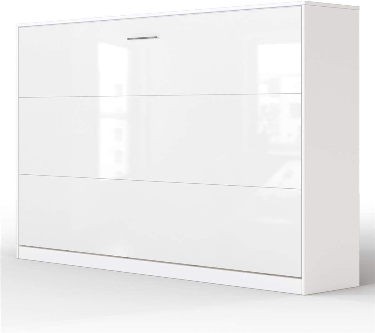 SMARTBett Basic Cama abatible Cama Plegable Cama de Pared (Blanco/Blanco Brillante, 120 x 200 cm Horizontal)