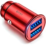 DIVI Car Charger 12V/ 24V Car Adaptor with Mini Size Dual Port(5V/4.8A/24W), Fast Charging for iPhone XR/Xs Max / 8 Plus, iPad Air, Galaxy S8/S7/Edge, Note 5/4, Huawei (Red)