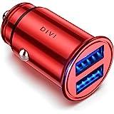 Caricabatteria auto USB, 4.8A Caricatore adattatore universale Caricabatterie da auto 2 Porte Super Mini Alluminio macchina per Phone X / 8/7 / 6s / Plus, Galaxy S8 / S7 / Edge, Huawei P9/P10 (Rosso)