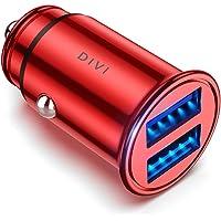 DIVI Auto Ladegerät, Mini Zigarettenanzünder USB Ladegerät 12V/ 24V KFZ Ladegerät 2-Port 24W 5V / 4.8A mit Aluminium-Legierung Gehäuse für iPhone XR/Xs Max, Samsung Galaxy S8, Huawei Und mehr (Rot)