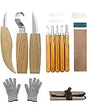 Wood Carving Tools Kit 12 in 1 - Wood Carving Tools Set Includes Hook Carving Knife, Whittling Knife, Detail Knife, Sharpener, Gloves and Canvas Bag, Gifts for Men for Beginner