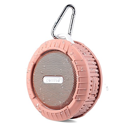 COMISO Bluetooth Wireless Water Resistant Shower Speaker with Suction Cup and Speakerphone, Rose Gold