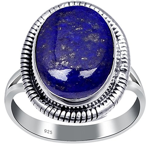 (Orchid Jewelry 925 Sterling Silver Oval Shaped Lapis Lazuli Ring for Women, September Birthstone, Perfect for Mother Day, Birthday, Free Gift Box (6.00 Cttw, 14x10 MM))