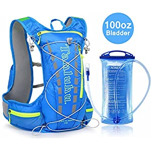 Hydration Pack Running Backpack With 3 Liter 100 OZ Water Bladder BPA Free Waterproof for Hiking Gear Outdoor Lightweight Daypack For Biking Climbing Walking for Man Woman Kids (Blue)