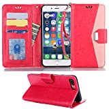 Galaxy A8 Plus Wallet Case,Suordii PU Leather Wallet Case Credit Card Slot Magnetic Closure Flip Wallet Case Cover Samsung A8 Plus 2019 Kickstand hot Pink