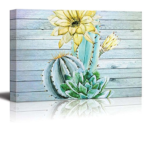 Watercolor Illustrations of Cactus and Yellow Flowers Over Wooden Panels