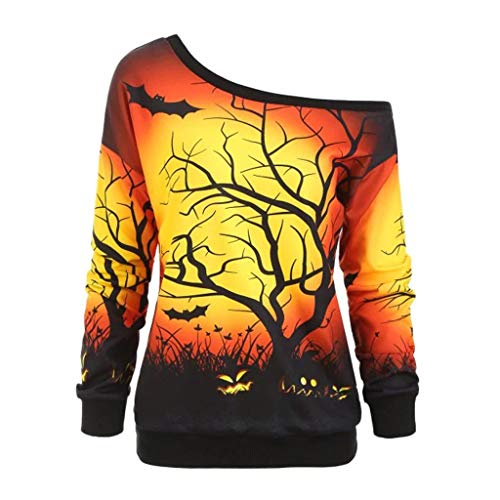 Holzkary Women Halloween Off Shoulder Sweatshirt Slouchy Letters Graphic Print Boat Neck Long Sleeve Pullover Tops(M.Yellow)]()