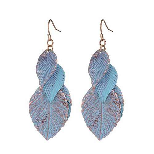 [Guanta Europe Alloy Flakes Leaves Sky Blue Painting Leaves Tassel Earrings Femlae Jewelry(C1)] (Matching Costumes For Mom And Baby)