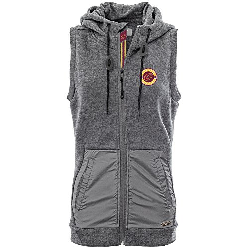 - Levelwear LEY9R NBA Cleveland Cavaliers Adult Women Iris Banner Stripe Hooded Vest, Medium, Heather Pebble