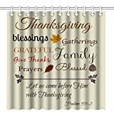 Wknoon 72 x 72 Inch Shower Curtain, Bible Verse Quotes About Thanksgiving Art