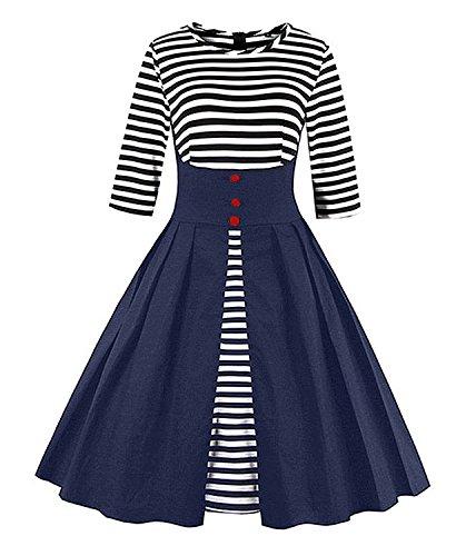 blue and black striped dress - 3