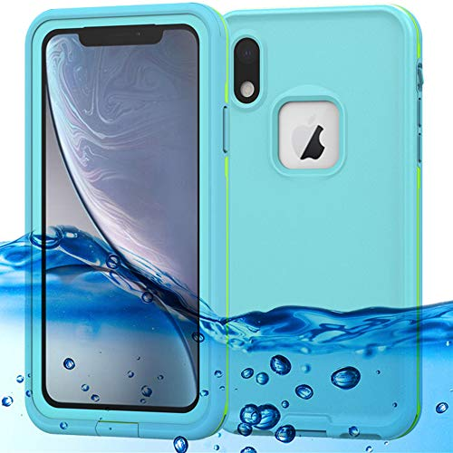 (iPhone XR Waterproof Case Support Wireless Charging iPhone XR Waterproof Shockproof Dirt-Proof Full-Body Rugged Cover with Built-in Screen Protector for Apple iPhone XR 6.1 inch (Light Blue))