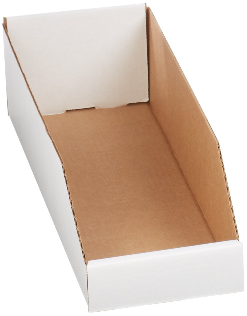 Aviditi BINBWZ618 Corrugated Open Top Bin Box, 18'' Length x 6'' Width x 4-1/2'' Height, Oyster White (Case of 50)