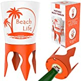 Beach Vacation Accessories Supplies: Beach Drink Cup Holder Sand with Bottle Opener and Spikes (4 Pack) | Spike Coaster Cups - Gear Essentials Stuff Items Necessities Must Haves for Adults Women Men